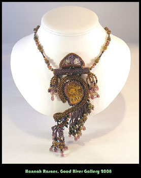 Fossil Agate Beaded Beadwoven Purple Brown Fringe Peyote Stitch Right Angle Weave Bead Necklace