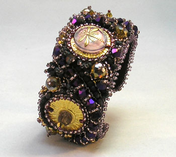 purple gold dragonfly bracelet